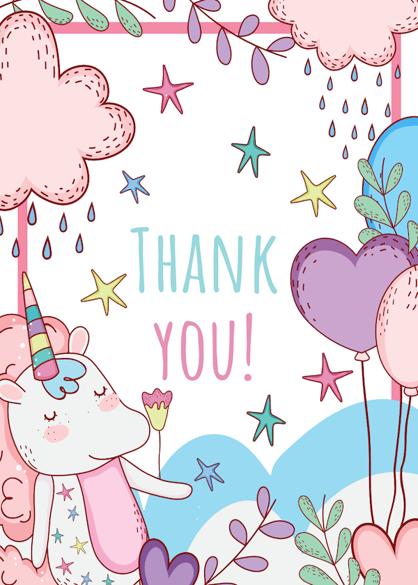 printable thank you cards - Pastel unicorn