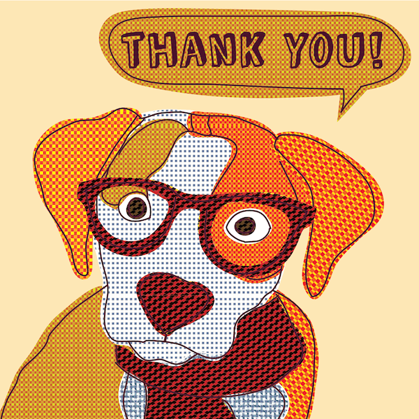 printable thank you cards - Vintage doggy