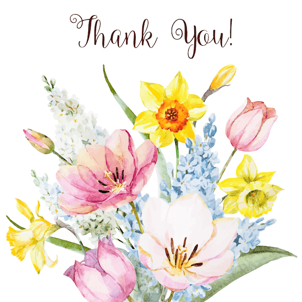 printable thank you cards - Watercolor bunch of flowers