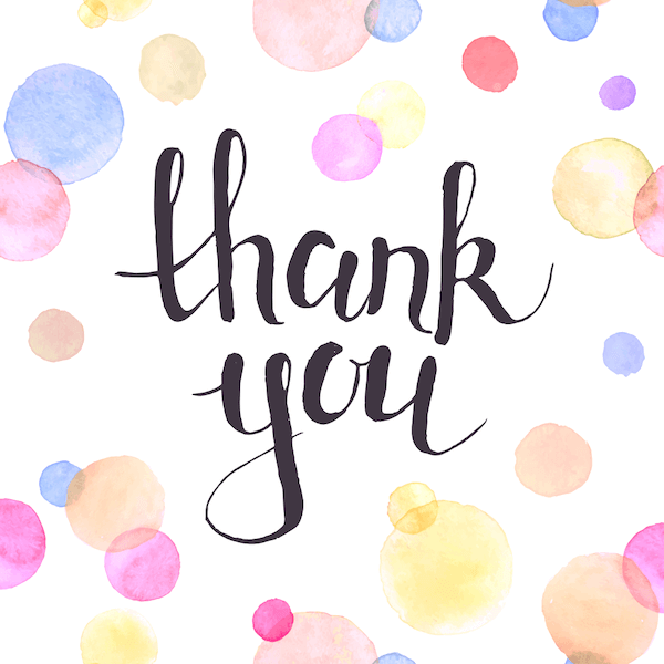 printable thank you cards - Watercolor dots