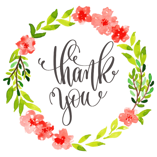 printable thank you cards - Watercolor flower wreath