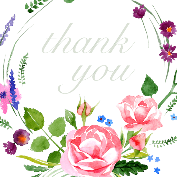 printable thank you cards - Watercolor floral wreath