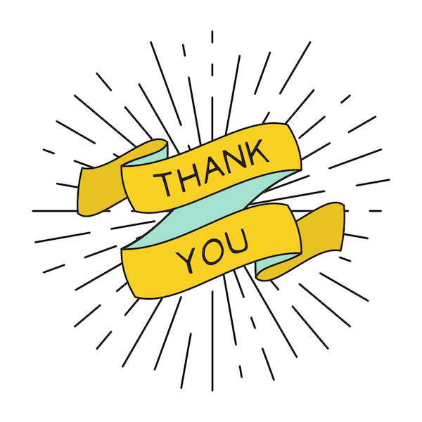 printable thank you cards - Bright yellow ribbon
