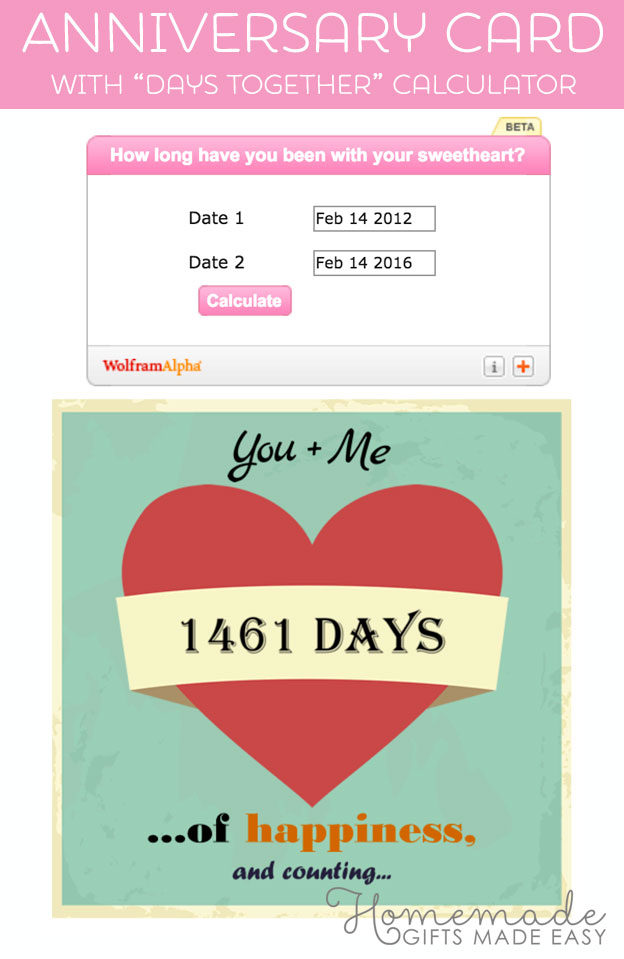 printable anniversary card with days calculator