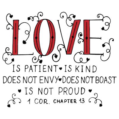 Printable Valentine Cards 1 Corinthians Ch13 5x5