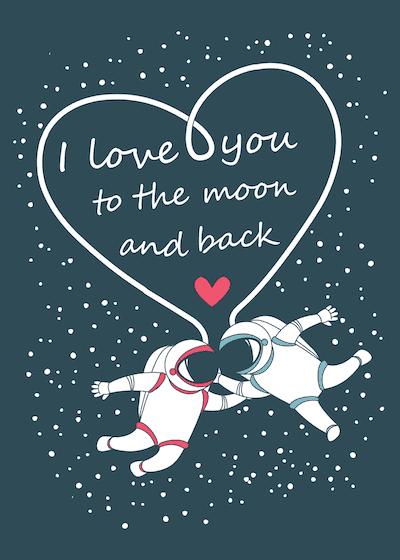 Printable Valentine Cards Astronauts Moon Back 5x7