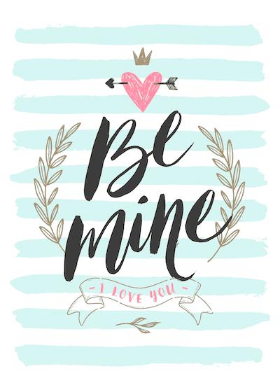 Printable Valentine Cards Be Mine Blue Stripes 5x7