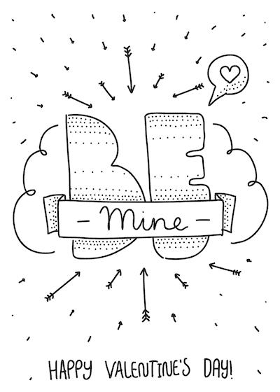 Printable Valentine Cards Be Mine Happy Day 5x7