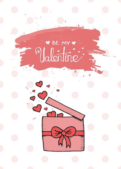 Printable Valentine Cards Be My Valentine Box Hearts 5x7