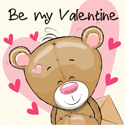 Printable Valentine Cards Be My Valentine Cute Bear 5x5