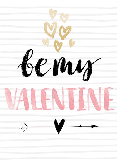Printable Valentine Cards Be My Valentine Pink Watercolor 5x7