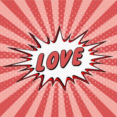 Printable Valentine Cards Comic Explosion Love 5x5