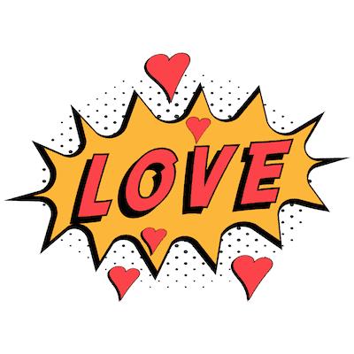Printable Valentine Cards Comic Love 5x5