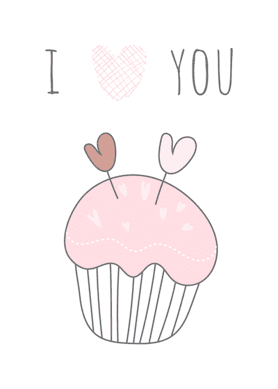Printable Valentine Cards Cute Cupcake 5x7