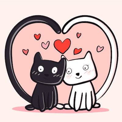 Printable Valentine Cards Cute Love Cats 5x5