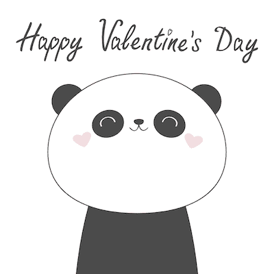 Printable Valentine Cards Cute Panda 5x5