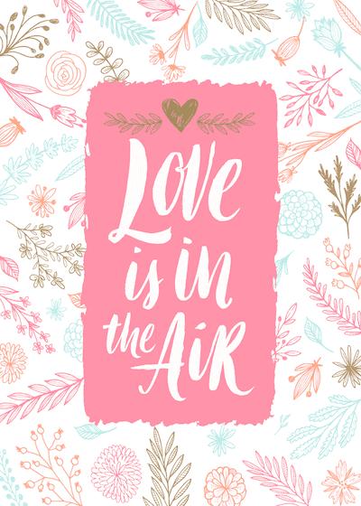 Printable Valentine Cards Floral Love in Air 5x7