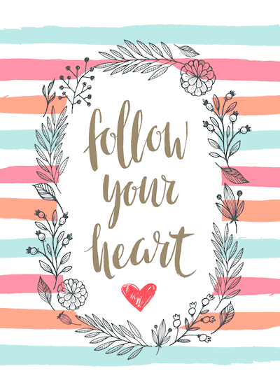 Printable Valentine Cards Follow Your Heart 5x7