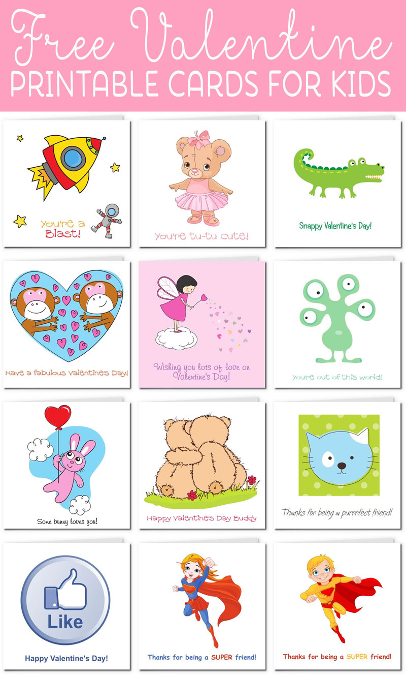 graphic about Printable Valentine Picture named Printable Valentine Playing cards for Children