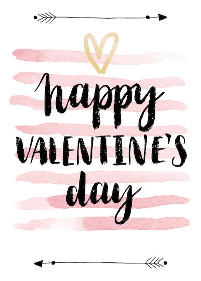 Printable Valentine Cards Happy Day Arrows Pink Watercolor 5x7