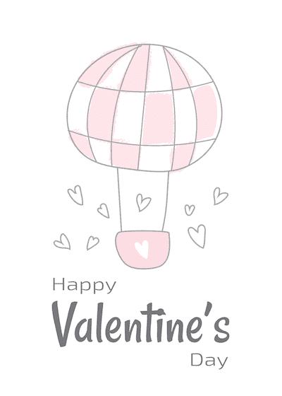Printable Valentine Cards Happy Day Balloon 5x7