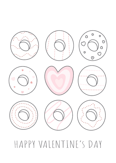 Printable Valentine Cards Happy Day Donuts 5x7