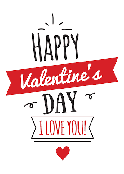 Printable Valentine Cards Happy Day Love You Red Black 5x7