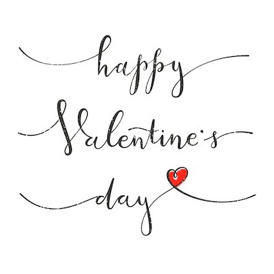 Printable Valentine Cards Happy Day Script With Heart 5x5