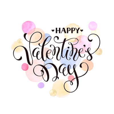 Printable Valentine Cards Happy Day Watercolor Splashes 5x5