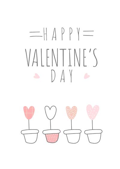 Printable Valentine Cards Heart Flower Pots 5x7