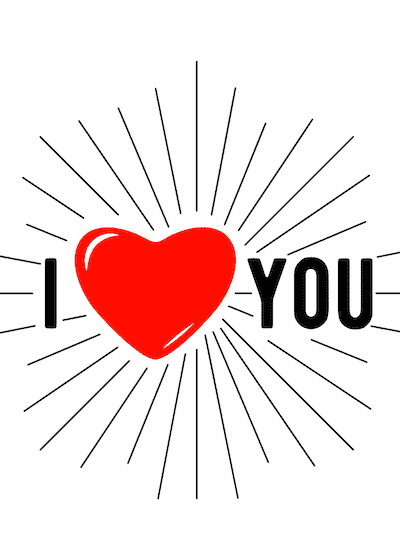 Printable Valentine Cards I Heart You Rays 5x7