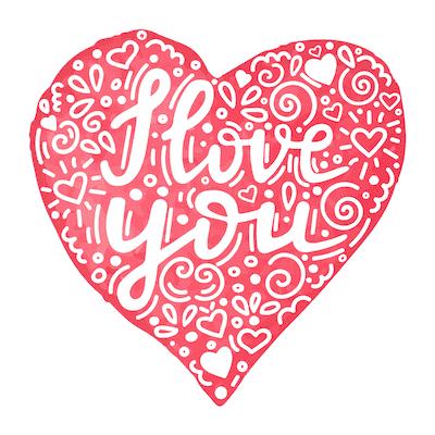 Printable Valentine Cards I Love You Heart 5x5
