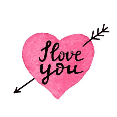 Printable Valentine Cards I Love You Pink Heart Arrow 5x5
