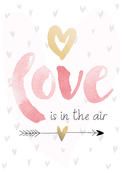 Printable Valentine Cards Love in Air Pink Watercolor 5x7