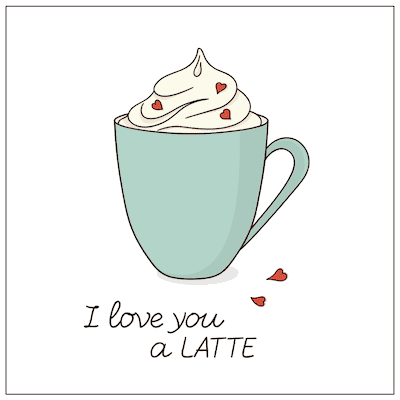 Printable Valentine Cards Love You a Latte 5x5