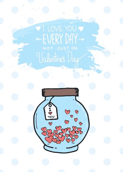 Printable Valentine Cards Love You Everyday Jar Hearts 5x7