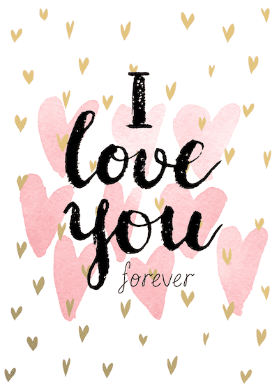 Printable Valentine Cards Love You Forever Pink Watercolor 5x7
