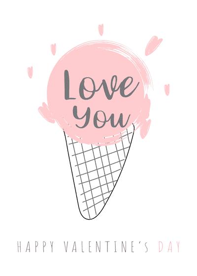 Printable Valentine Cards Love You Icecream 5x7