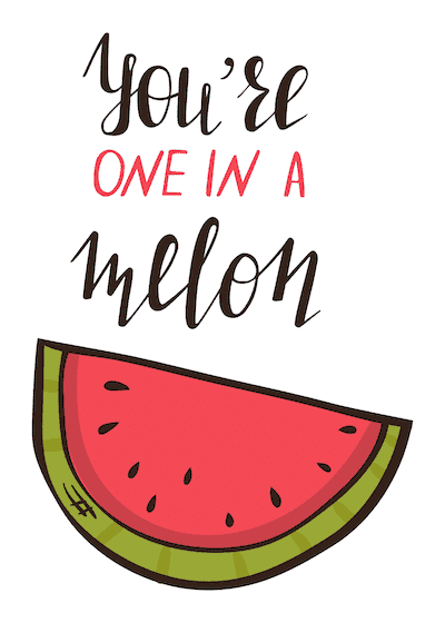 Printable Valentine Cards One in a Melon 5x7
