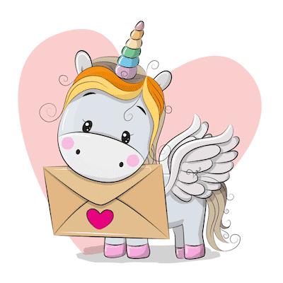 Printable Valentine Cards Rainbow Unicorn 5x5