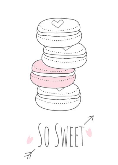 Printable Valentine Cards so Sweet Macaroons 5x7