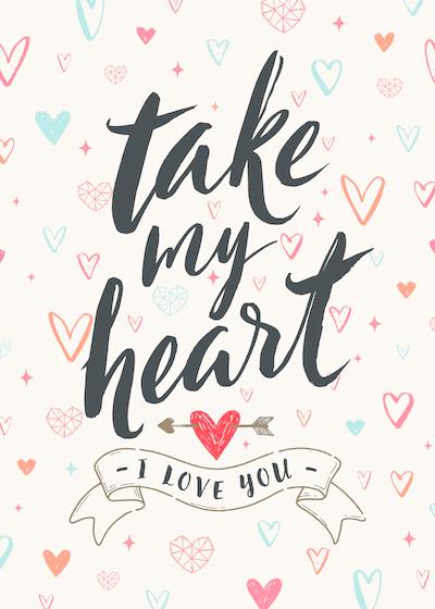 Printable Valentine Cards Take My Heart 5x7