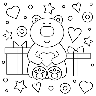 Printable Valentine Cards to Color Cute Bear 5x5