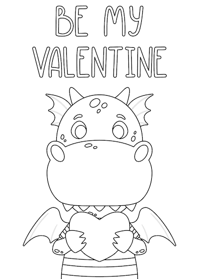 Printable Valentine Cards to Color Cute Dragon Be My 5x7