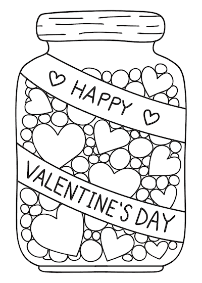 Printable Valentine Cards to Color Happy Day Sweets 5x7