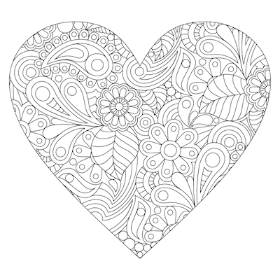 Printable Valentine Cards to Color Heart Doodle 5x5