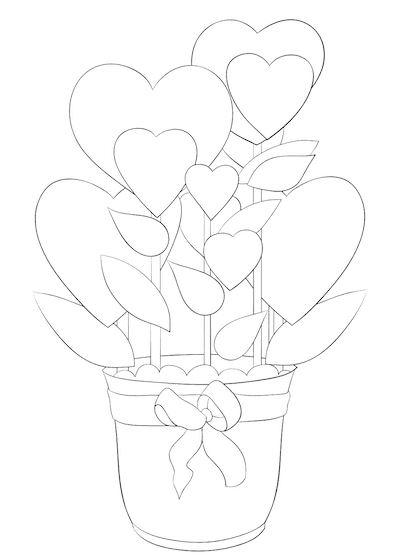 Printable Valentine Cards to Color Hearts Flower Pot 5x7