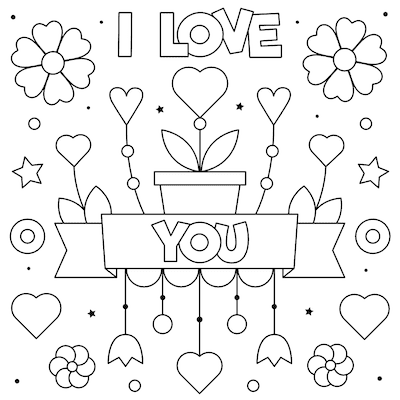 Printable Valentine Cards to Color Love You 5x5