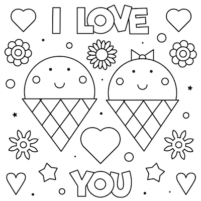 Printable Valentine Cards to Color Love You Icecream 5x5