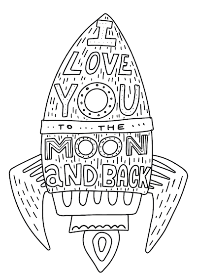 Printable Valentine Cards to Color Love You Moon Back Rocket 5x7